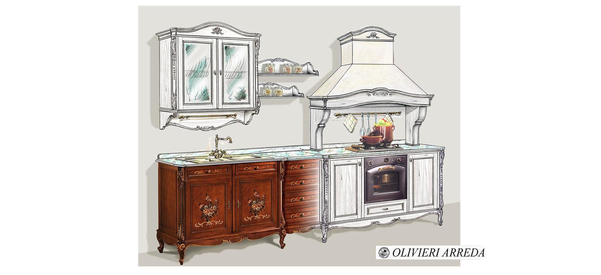 cucina interna con decori-